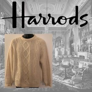 Harrod's Irish Wool Cableknit Sweater 40 Chest